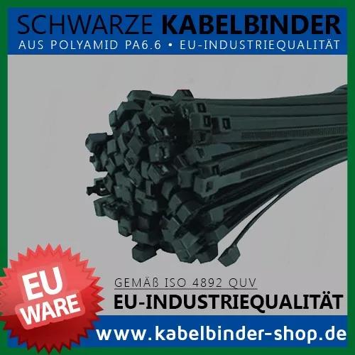Kabelbinder - Made in der EU - Schwarz - aus Polyamid 6.6 - UV beständig