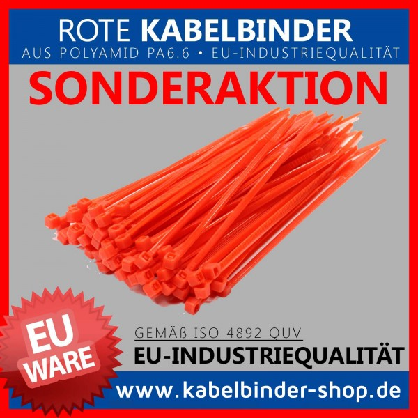 3,6x200mm Kabelbinder in rot
